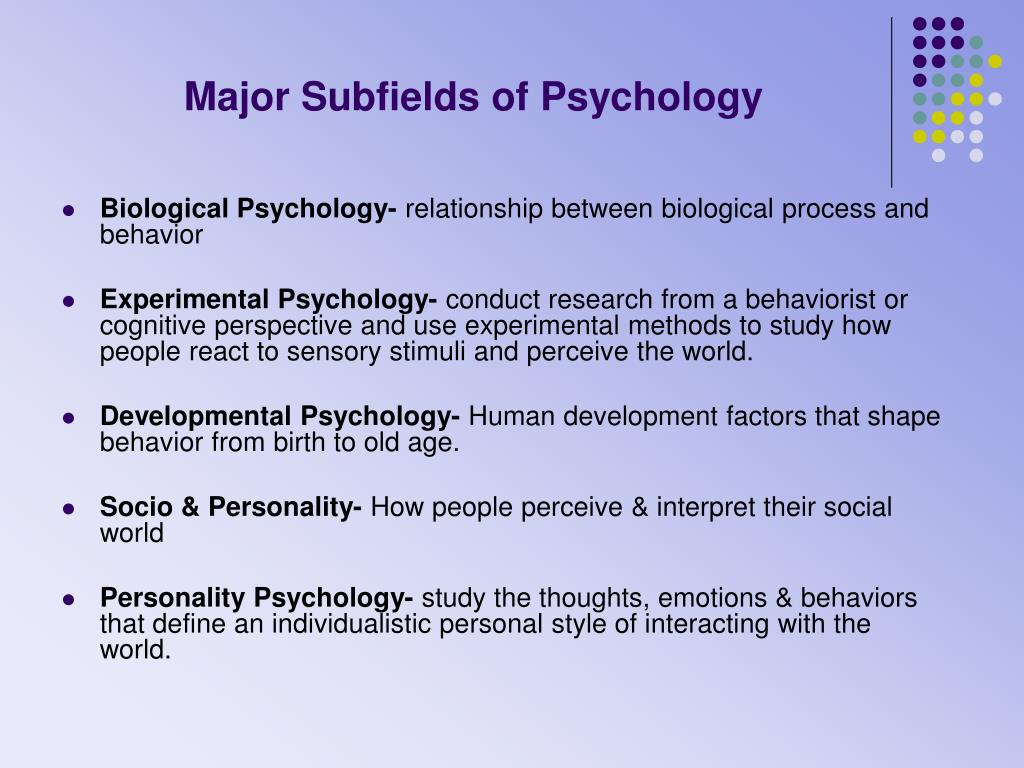 Major Subfields of Psychology