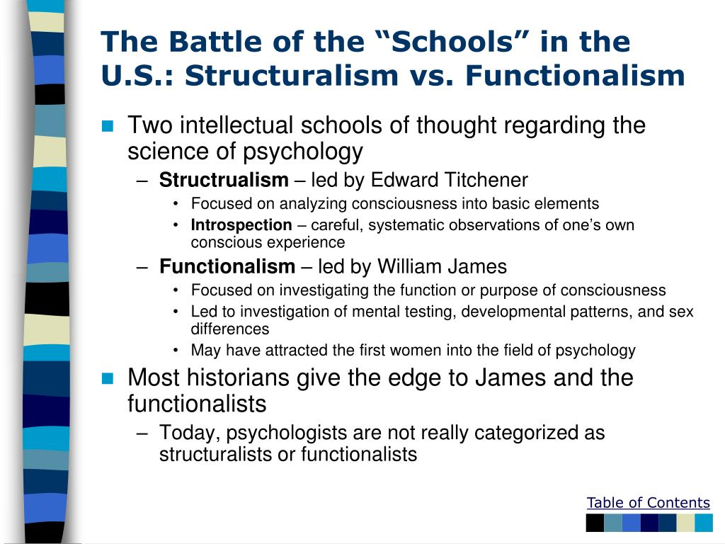 "The Battle of the ""Schools"" in the U.S.: Structuralism vs. Functionalism"