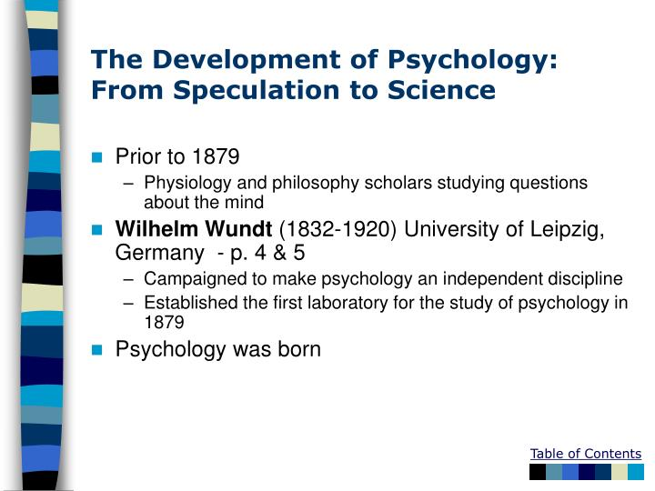 The development of psychology from speculation to science