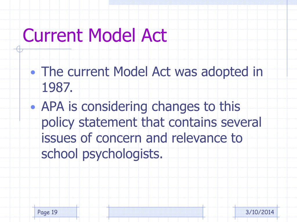 Current Model Act