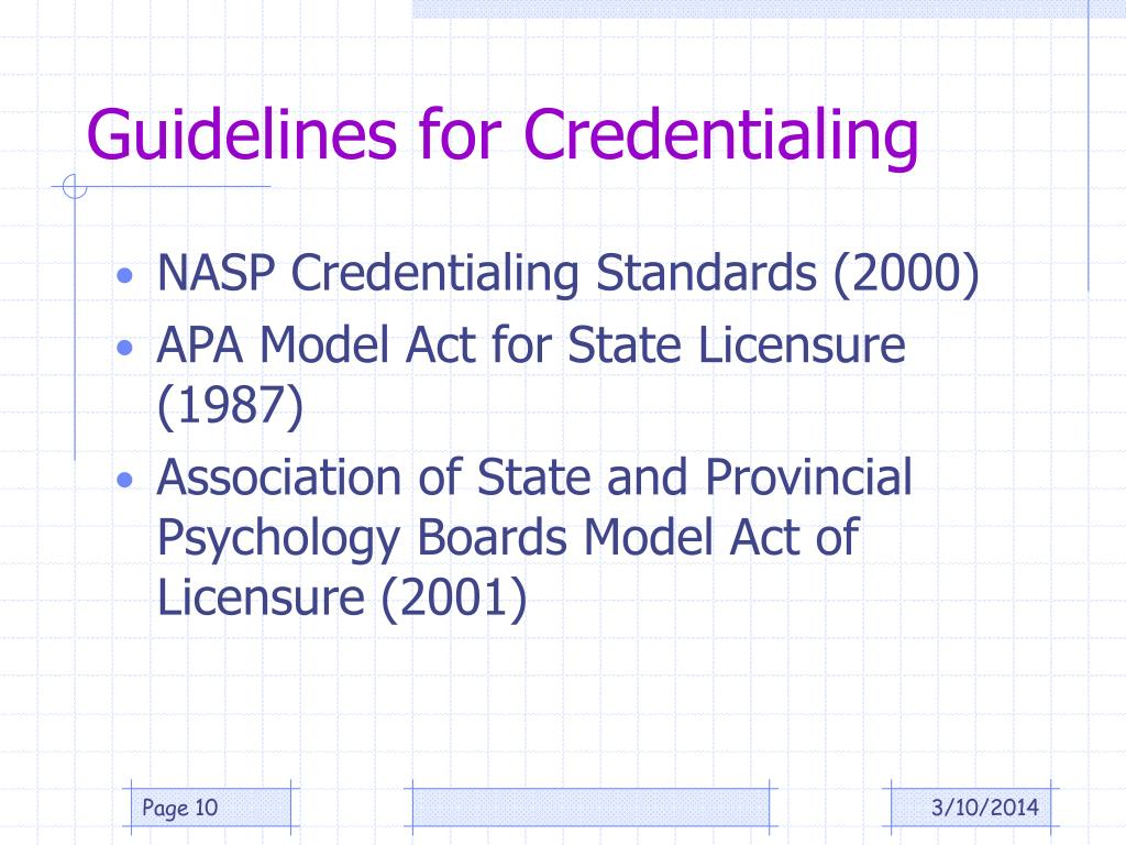 Guidelines for Credentialing