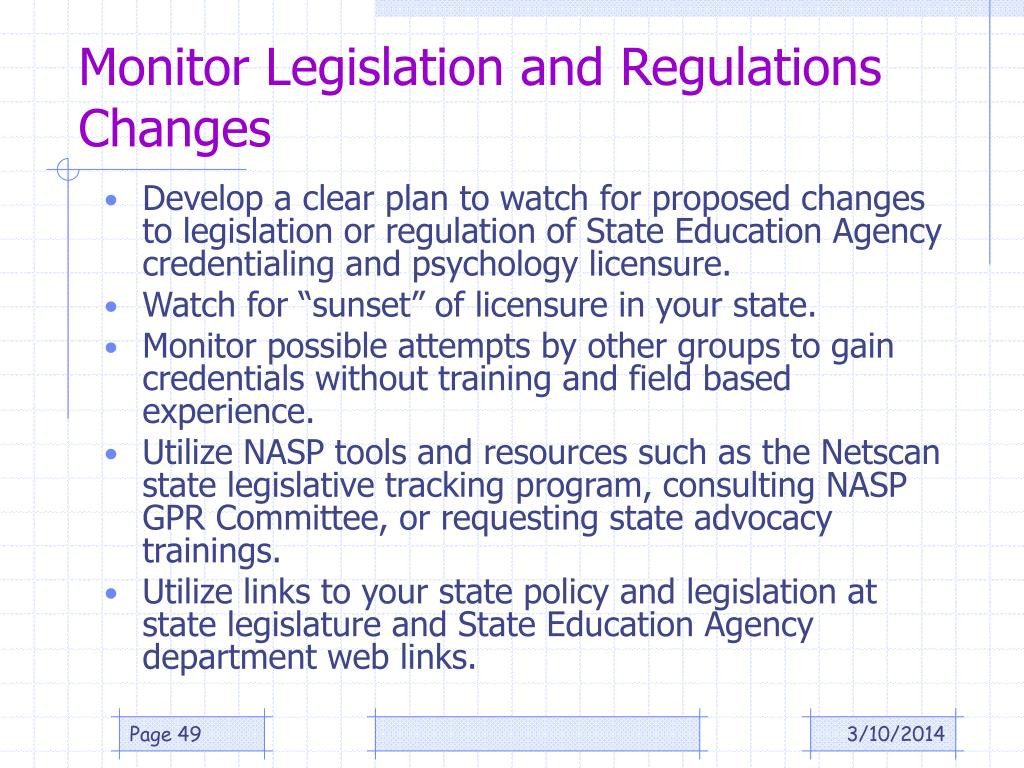 Monitor Legislation and Regulations Changes