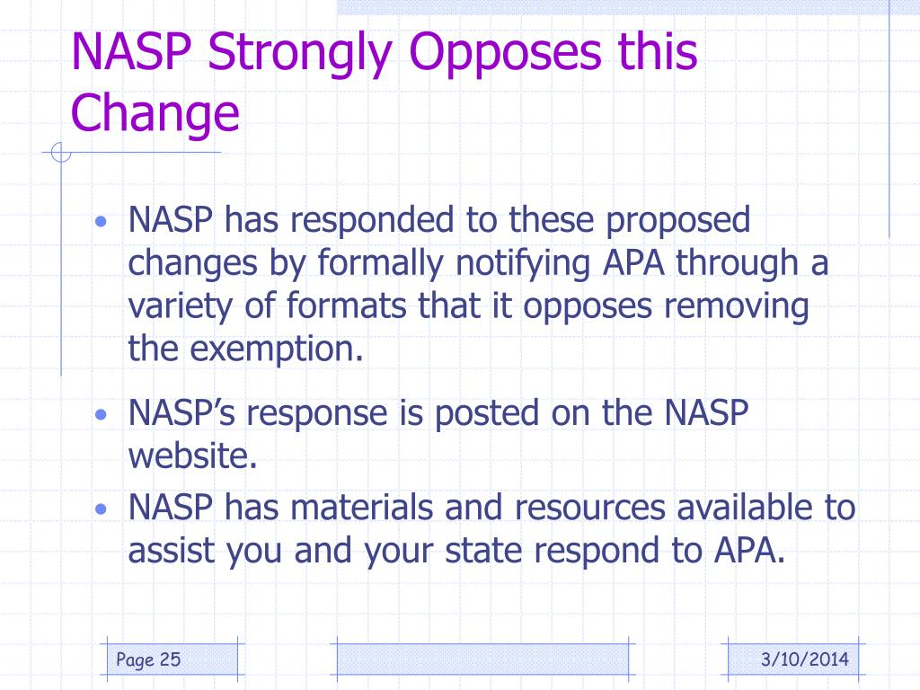NASP Strongly Opposes this Change