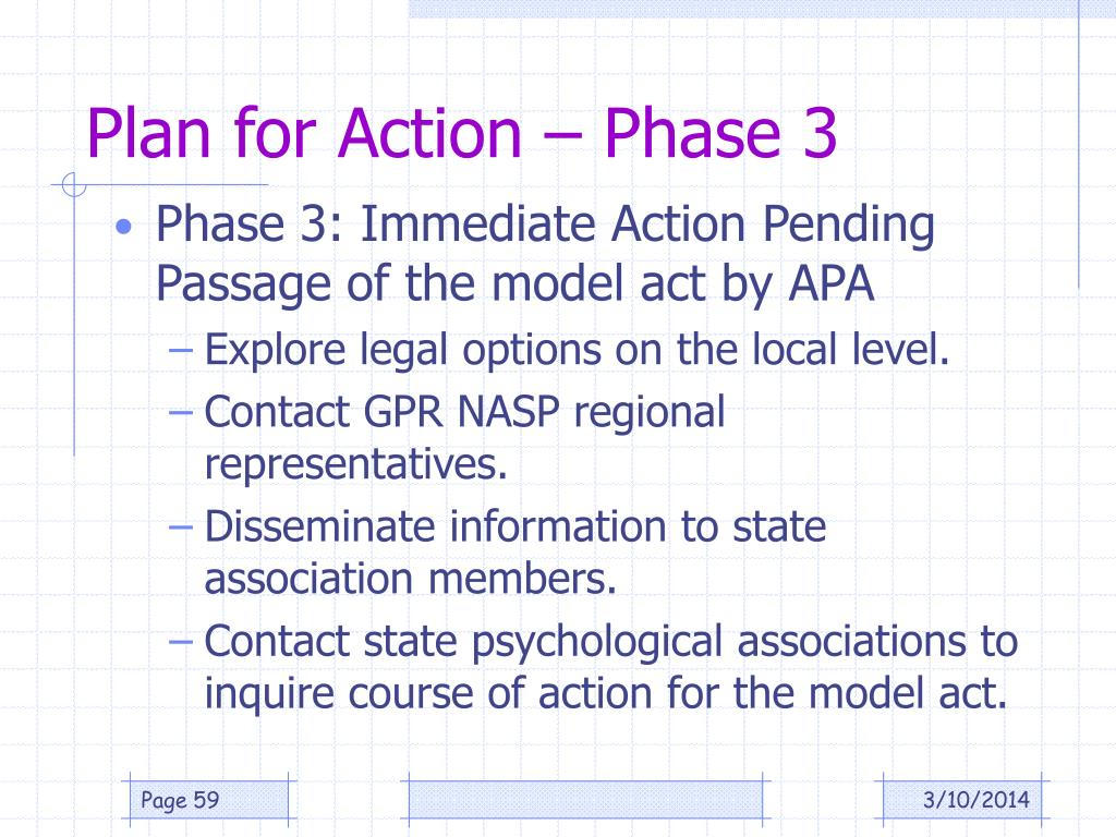 Plan for Action – Phase 3