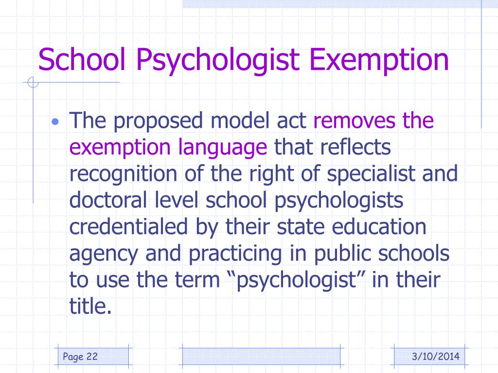 School Psychologist Exemption