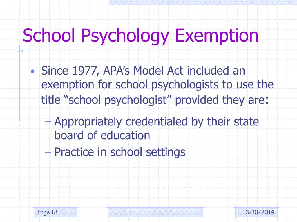School Psychology Exemption