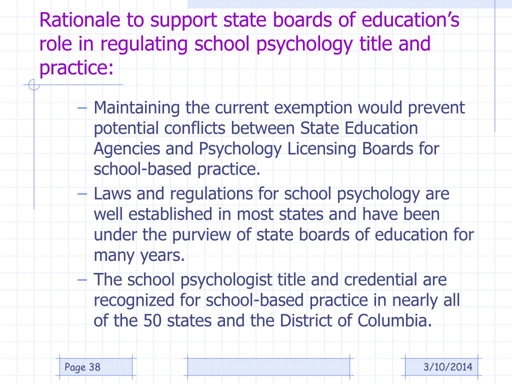 Rationale to support state boards of education's role in regulating school psychology title and practice: