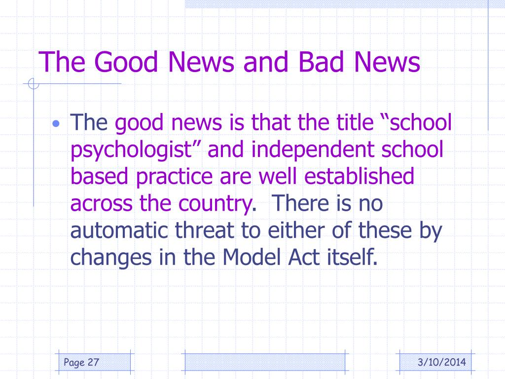 The Good News and Bad News