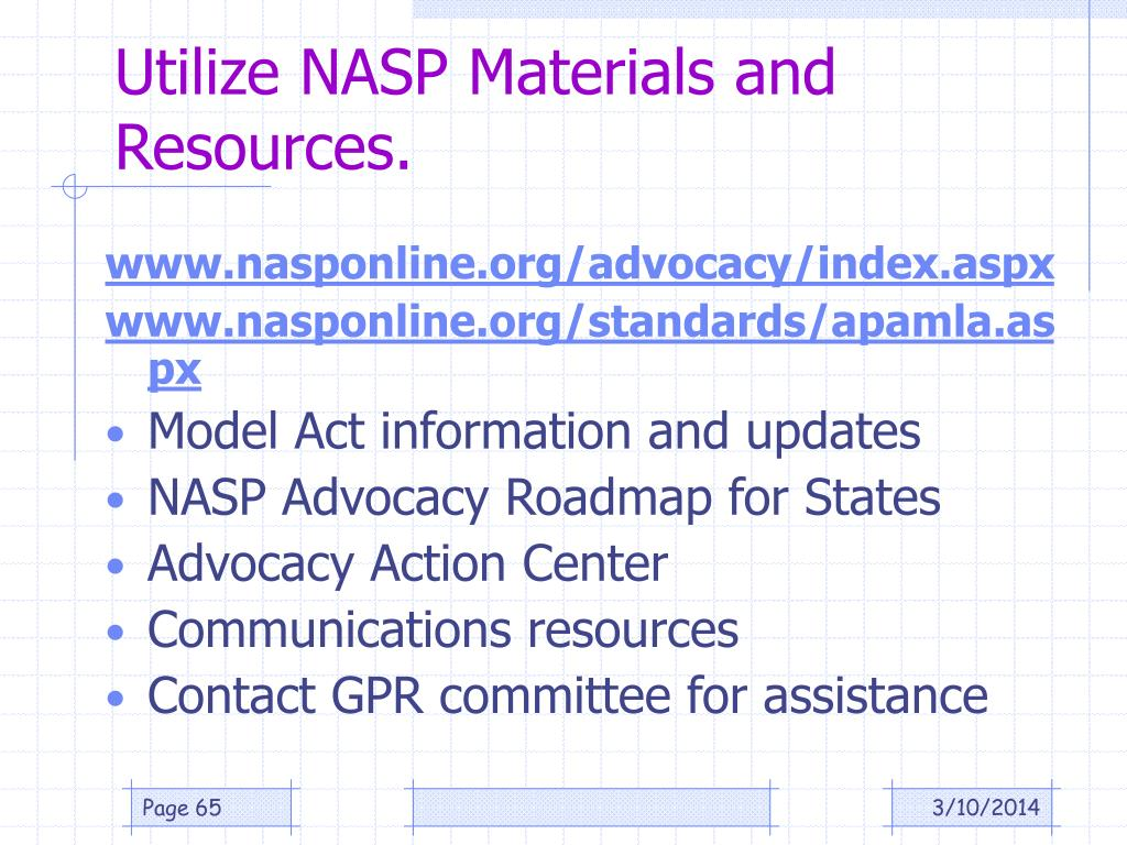 Utilize NASP Materials and Resources.