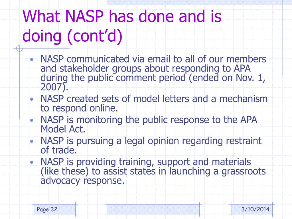 What NASP has done and is doing (cont'd)