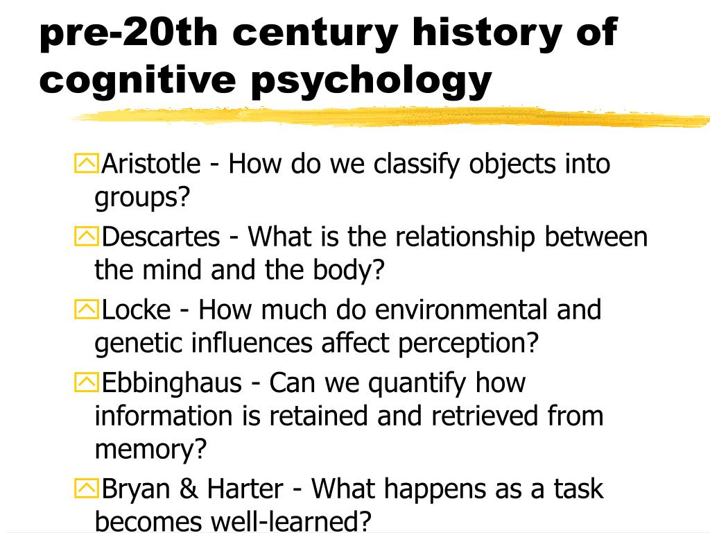 pre-20th century history of cognitive psychology