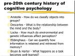 pre 20th century history of cognitive psychology