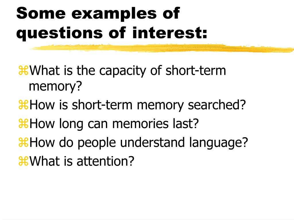 Some examples of questions of interest: