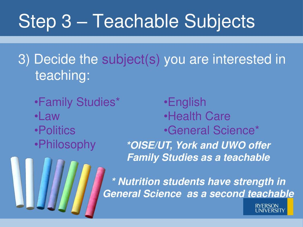 Step 3 – Teachable Subjects