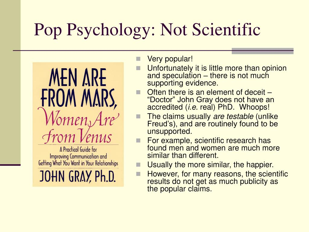 Pop Psychology: Not Scientific