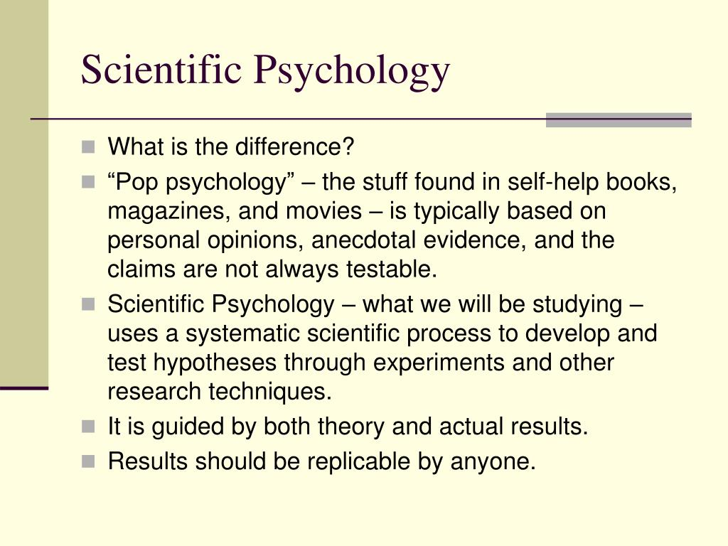 Scientific Psychology