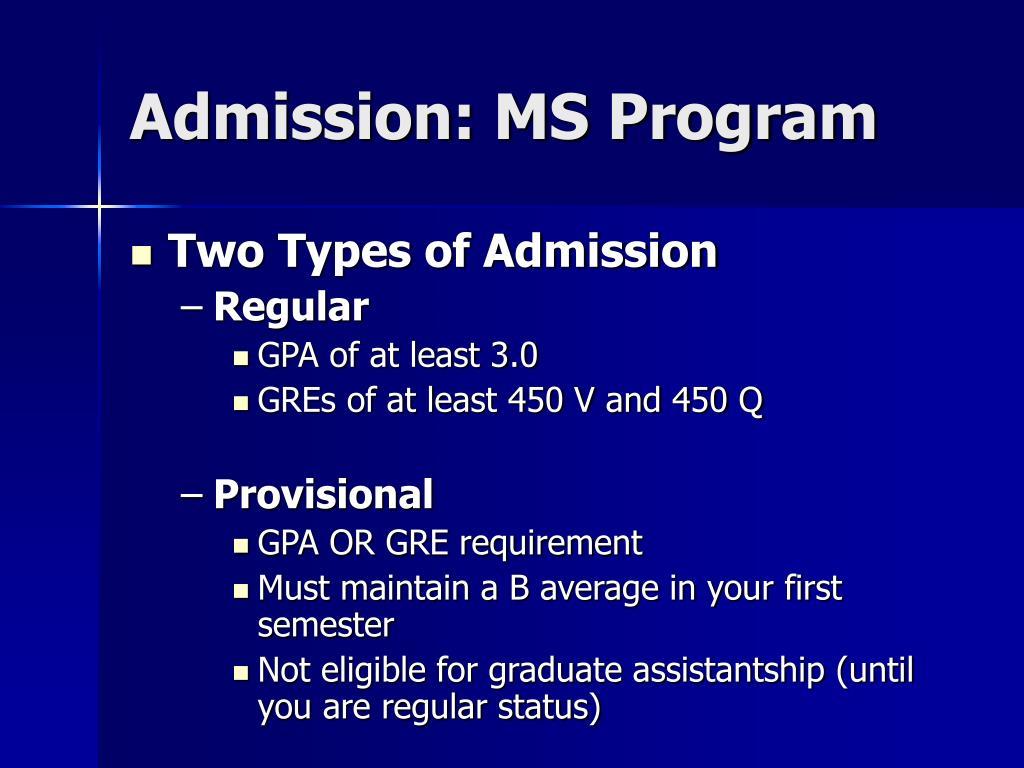 Admission: MS Program