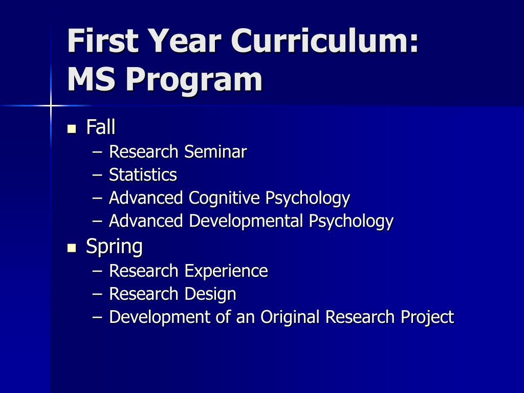 First Year Curriculum: