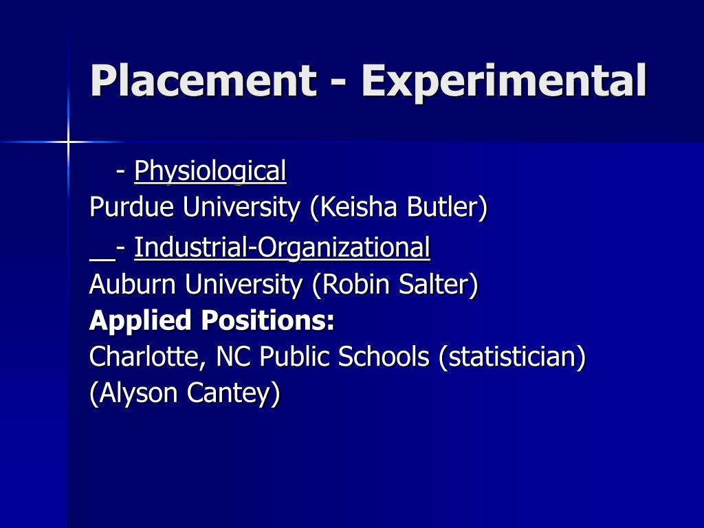 Placement - Experimental