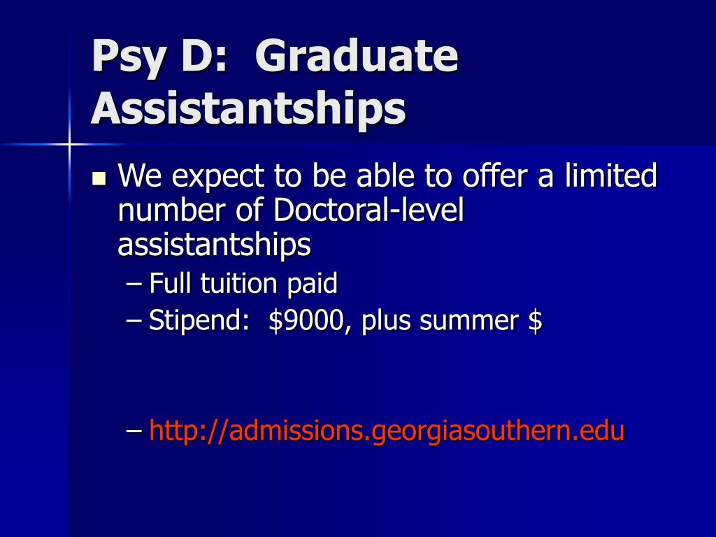 Psy D:  Graduate Assistantships