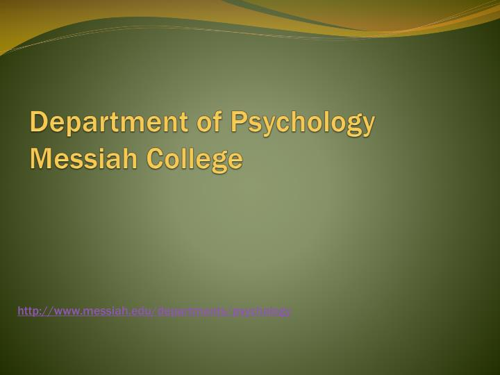 Department of psychology messiah college
