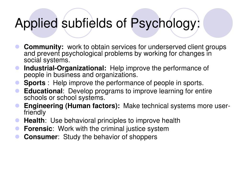 Applied subfields of Psychology: