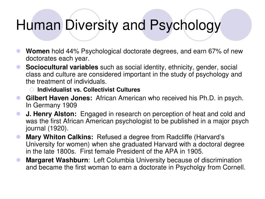 Human Diversity and Psychology