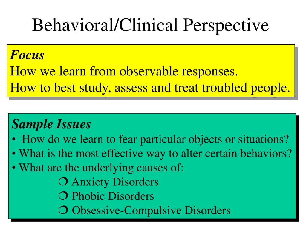 Behavioral/Clinical Perspective