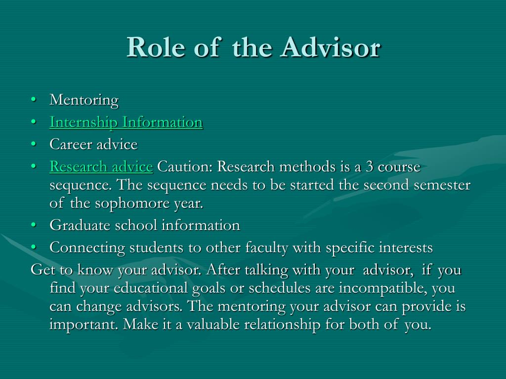 Role of the Advisor