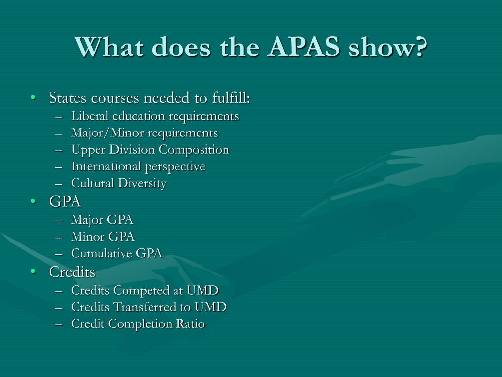 What does the APAS show?