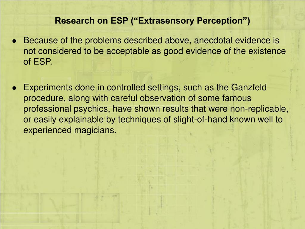 "Research on ESP (""Extrasensory Perception"")"