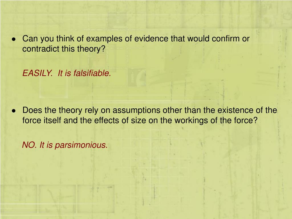 Can you think of examples of evidence that would confirm or contradict this theory?