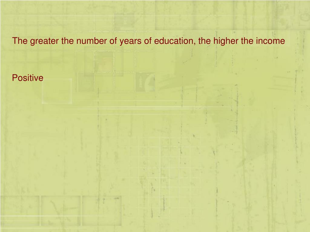 The greater the number of years of education, the higher the income