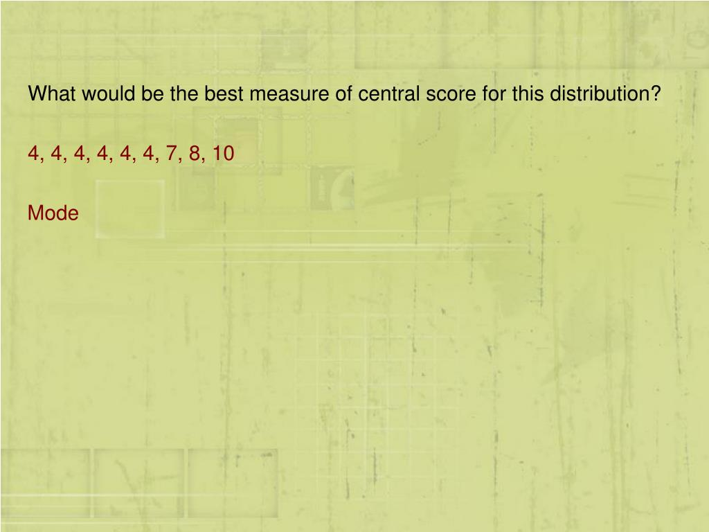 What would be the best measure of central score for this distribution?