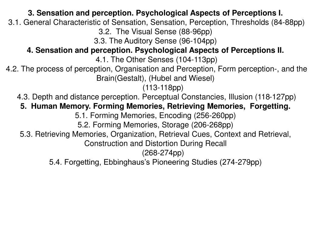 3. Sensation and perception. Psychological Aspects of Perceptions I.