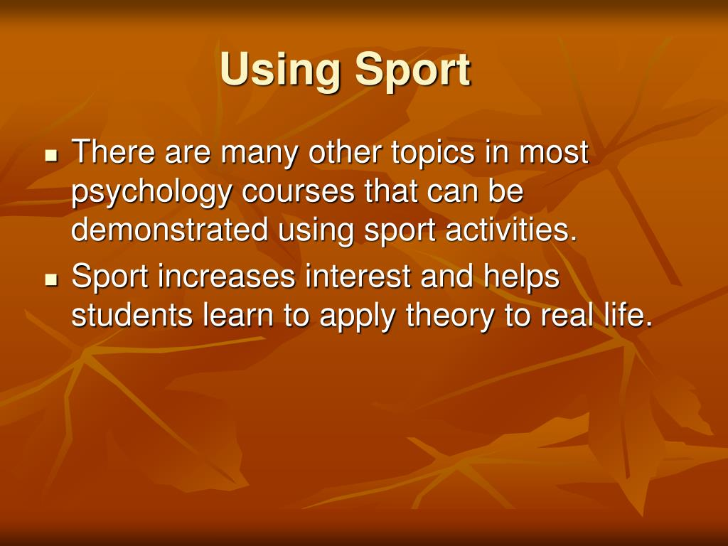 Using Sport