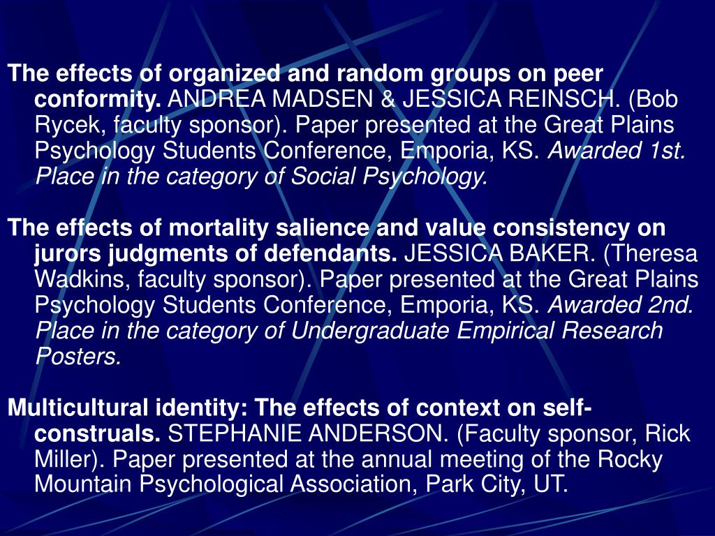 The effects of organized and random groups on peer conformity.