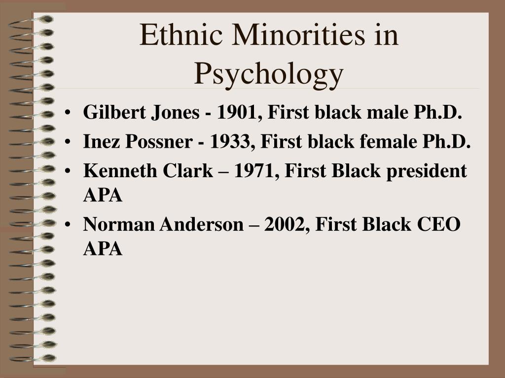 Ethnic Minorities in Psychology