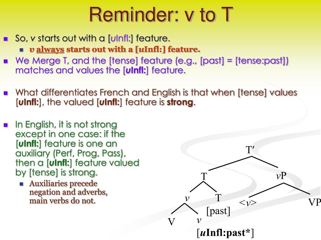 Reminder: v to T