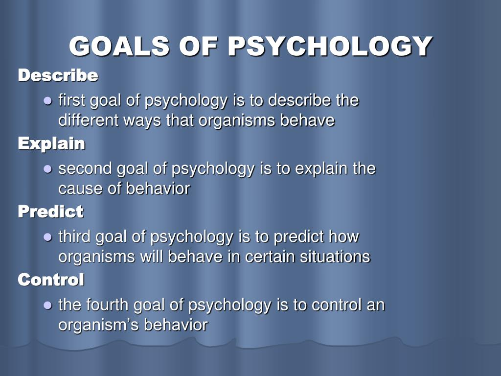 GOALS OF PSYCHOLOGY