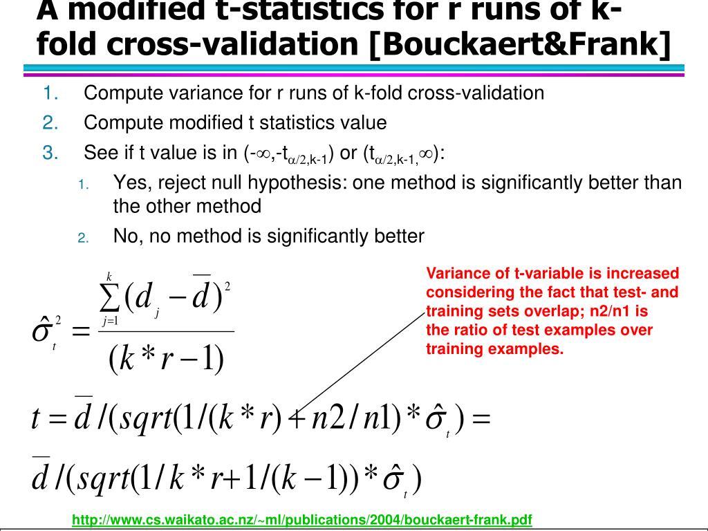A modified t-statistics for r runs of k-fold cross-validation [Bouckaert&Frank]