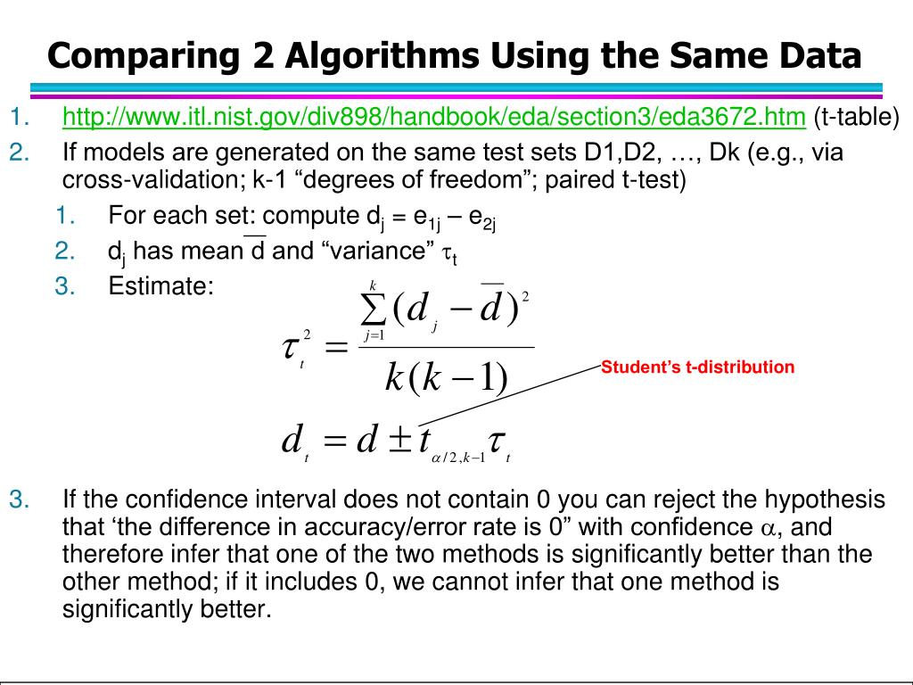 Comparing 2 Algorithms Using the Same Data