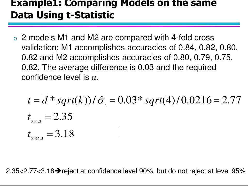Example1: Comparing Models on the same Data Using t-Statistic