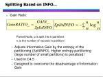 splitting based on info42