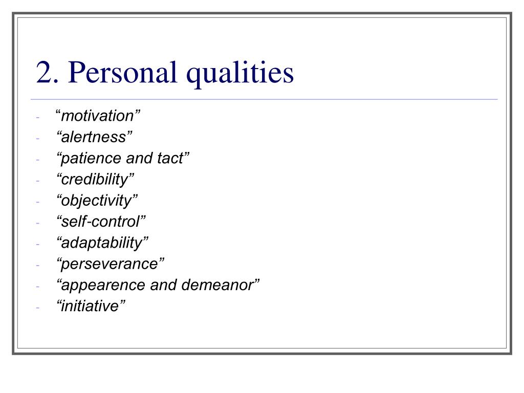 2. Personal qualities