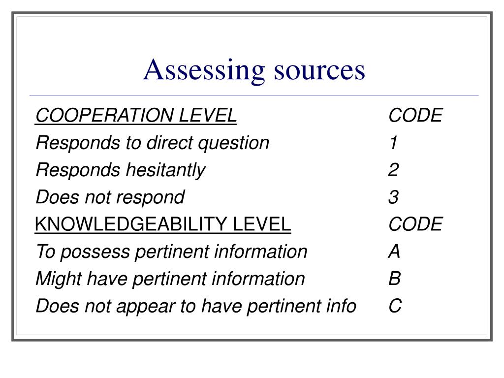 Assessing sources