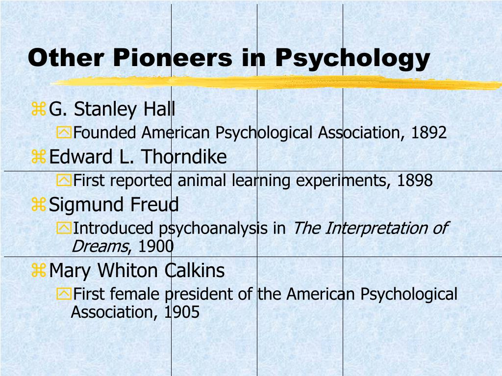 Other Pioneers in Psychology