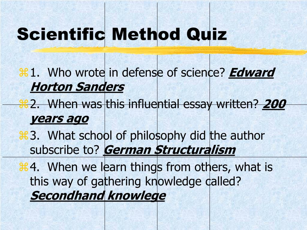 Scientific Method Quiz