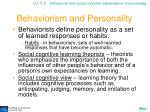 behaviorism and personality