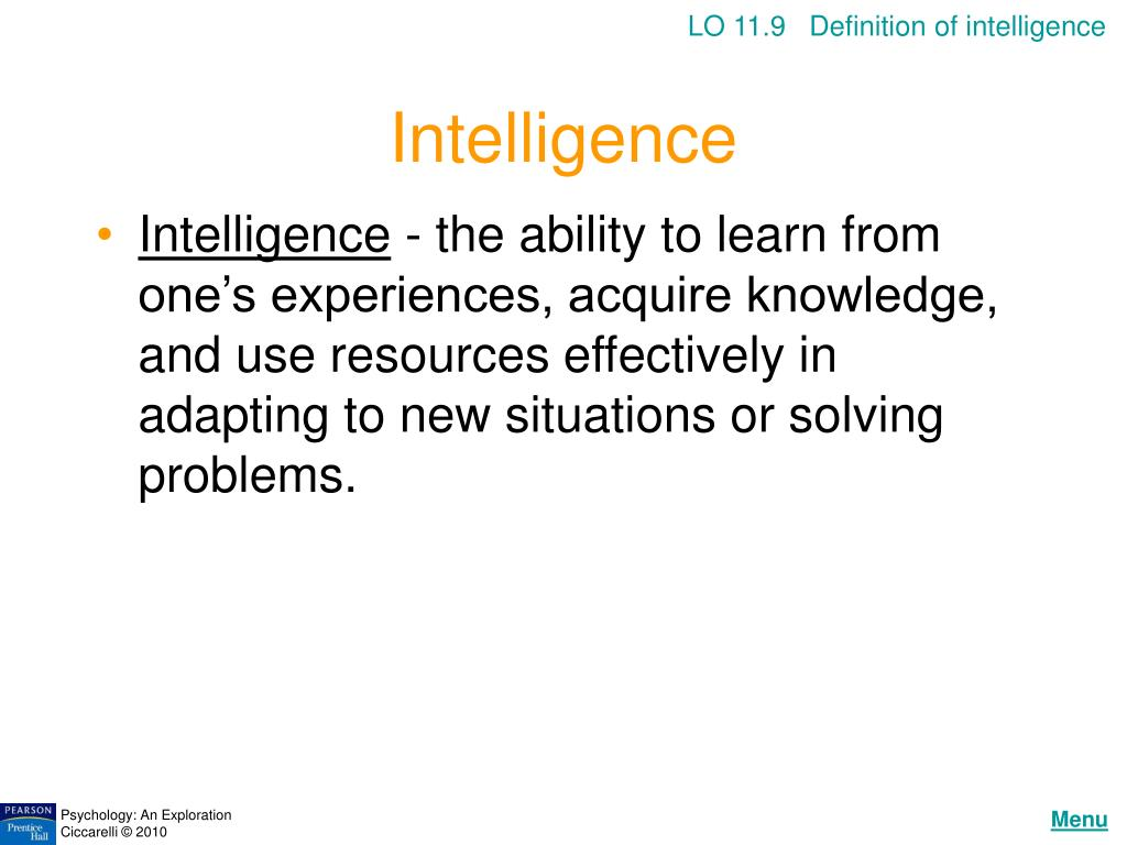 LO 11.9   Definition of intelligence